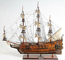"HMS Fairfax Royal Navy Handmade Wooden Tall Ship Model 34"" T021"