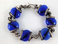 Vintage Mexico 925 Circular Blue Glass Link Bracelet Sterling Silver 7.75 Inches