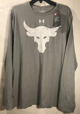 Under Armour Ua Project Rock L/S T-Shirt Size Xl Gray New Brahma Bull 1310673