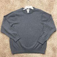 LL Bean Mens XL Gray Cotton/Cashmere Blend Long Sleeve Crew Neck Sweater