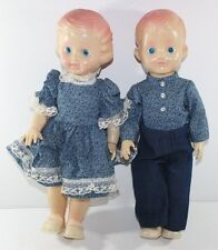 "2 Rare Vintage Hong Kong Twin Dolls Hollow Plastic 16"" Tall Girl Boy"