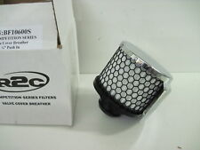 """R2C BF10600S VALVE COVER ENGINE BREATHER FILTER PUSH IN 1.25"""" CHROME W/SHIELD"""