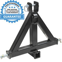 """Heavy Duty 3 Point 2"""" Receiver Trailer Hitch Category 1 Tractor Tow Drawbar Pull"""