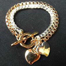 Artisan Gold 24K & Silver 925 Plated 2 Chains Bracelet Hang Hearts charm Pendant
