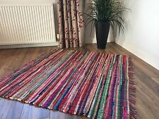 ❤️SHABBY CHIC SQUARE RAG RUG MULTI COLOUR FRINGED EDGES 120cm x 120cm FAIR TRADE