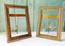 VINTAGE PAIR OF BRASS CHAIN STYLE PHOTO FRAMES with glass, Art Deco
