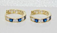 9ct Gold Blue Sapphire Huggie / Cuff Hoop Earrings