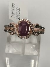 10K Rose Gold Oval Shape Ruby Ring with 0.20ct Champagne and White Diamond Band