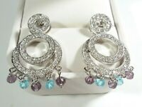 "925 STERLING CIRCLES CHANDELIER DANGLES CUBIC ZIRCONIA 1 1/2"" POST EARRINGS"
