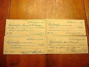 3-1910 & 1-1911 Rent Receipts To Rookwood Pottery Sgd Stargis Jauneau