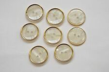 10pc 15mm Gold and Pearl Mock Shell Coat Cardigan Knitwear Kid Baby Button 3295