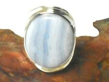 Adjustable   Blue  Lace   AGATE  Sterling  Silver  925  Gemstone  RING