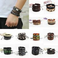 Fashion Hip Pop Vintage Punk Leather Wrap Braided Wristband Bracelet Bangle Set