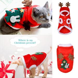 Pets Cat Dog Red Hoodie Jumper Christmas Xmas Elk Hooded Coat Jacket Cothes