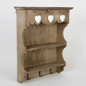 Rustic Style Wall Unit Storage Cupboard Key Hooks Spice Rack Sass and Belle