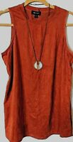 AB Studio Caramel Spice FAUX SUEDE Top Sleeveless Tunic w/ Necklace XL NWOT