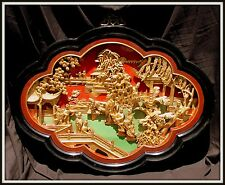 """Huge""""Antique Carved Gilded Chinese Three Dimensional Figural Panel""""(35""""W x 26""""H)"""