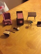 Vintage Doll House Furniture Wood Bunk Bead & Chair Bx33