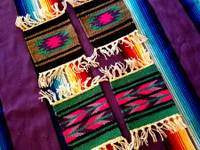 "New 4 Coasters Table Rugs 6x6"" Handwoven Loomed  Southwestern!"