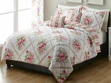 SHABBY COTTAGE CHIC PINK ROSE GARDEN COUNTRY FARMHOUSE FLORAL 5pc FQ/K Quilt Set