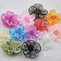 20pcs Upick Organza Ribbon Flower Bows Appliques Craft Wedding Decoration E08