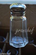 Salt & Pepper Shakers ~ Glass ~ 12 Pack ~ 1 oz. Panelled - Stainless Tops! Nib