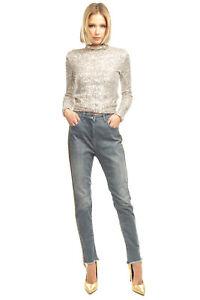 RRP €160 PATRIZIA PEPE Denim Trousers Size 30 Stretch Faded Beaded Side Stripes