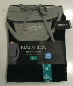 NIP Mens NAUTICA Sleepwear Set Navy Blue Thermal Shirt Gray Knit Pants XL