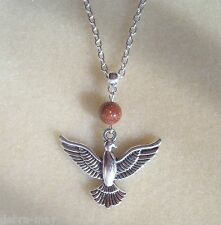 "Phoenix Pendant Brown Goldstone Silver Plated 22"" Chain Necklace"