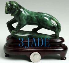 Natural Green Nephrite Jade Tiger Statue / Carving / Sculpture