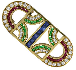 1.20ct Round Diamond Ruby Emerald Sapphire 14K Yellow Gold Brooch Pin