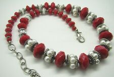 """RUBY RD. Chunky Beaded Necklace SILVER TONE RED FAUX PEARLS Super Cute! 18""""-21"""""""