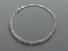 """7""""-STERLING SILVER  BRACELET- FIGARO -3mm - MADE IN ITALY -925"""