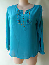 Rivers Size 14 Blue Teal Top Long Sleeves Studded