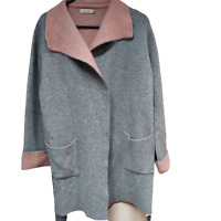 A.Ida Women's Cardigan Sweater Tie Belt Wool Blend Gray Medium Made In Italy