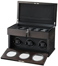 Volta Brown 3 + 5 Watch Winder w/ Storage LED Lighting Lock & Key 31-560031