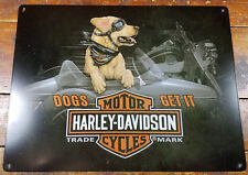 HARLEY DAVIDSON MOTORCYCLES DOG RIDING IN SIDE CAR HEAVY DUTY METAL ADV SIGN