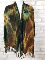 "Tie Dye Dark Green and Brown Scarf Women Wrap Shawl 65x22"" With Fringe (Hole)"