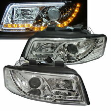 A4/S4 2001-2004 4D B6 8E Projector LED R8 Phare w/Amber Chrome for AUDI