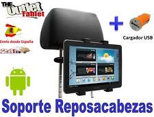 """SOPORTE REPOSACABEZAS PARA TABLET 8"""" 9"""" 9.7"""" 10.1"""" GIRATORIA + CARGADOR USB"""