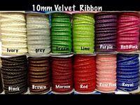 10mm Satin-Velvet Ribbon- ZigZag Design Gold Glitter -12 colours-Christmas Craft