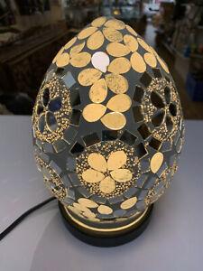 Brand New LAMP Mosaic Glass MATT WHITE FLOWERS Small Egg Table Light 21 cm Home