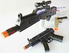 3x Toy Machine Guns Elec Special Forces Rifle MP5 w/ Sound FX Silver 9MM Cap Gun