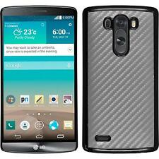 Coque Rigide LG G3 - look carbone argenté + films de protection