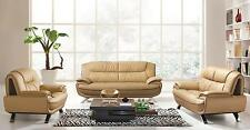 ESF 405 Brown Chic Italian Leather Sofa Living Room Set 3Pcs Contemporary Modern