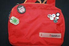 Derbe rote Logstoff Messenger Bag Tasche Hamburg mit Anhänger Onitsuka Tiger