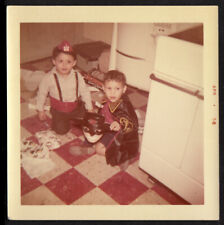 SUGAR-BUZZ ZORRO MASK HALLOWEEN COSTUME BOY on LINOLEUM ~ 1958 VINTAGE PHOTO