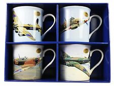 Lot de 4 WW2 avion Tasses Leonardo Collection Boîte Cadeau Café Thé Tasses Spitfire