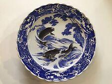 "Vintage Large Japanese Imari Porcelain Koi Fish Platter, 16"" Diameter"