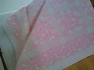 """Zooful Animals "" Handmade Baby/Child Quilt, Machine quilted, Soft Pink/White"